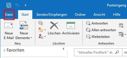 Outlook Signatur ändern: Klick auf Datei