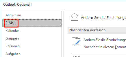 Outlook Signatur ändern: Klick auf E-Mail