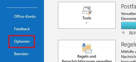 Outlook Signatur ändern: Klick auf Optionen