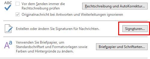 Outlook Signatur ändern: Klick auf Signaturen