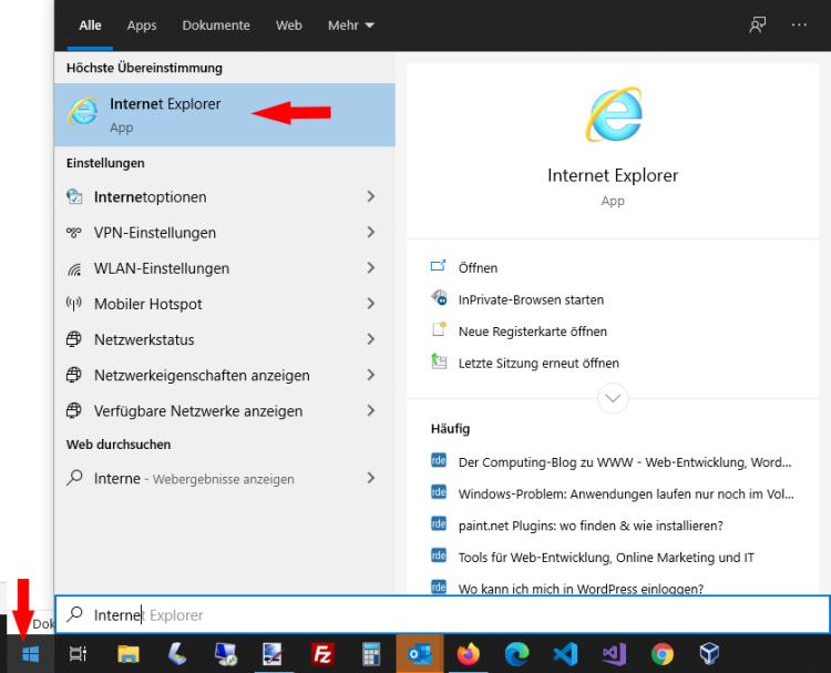 Internet Explorer in Windows aufrufen