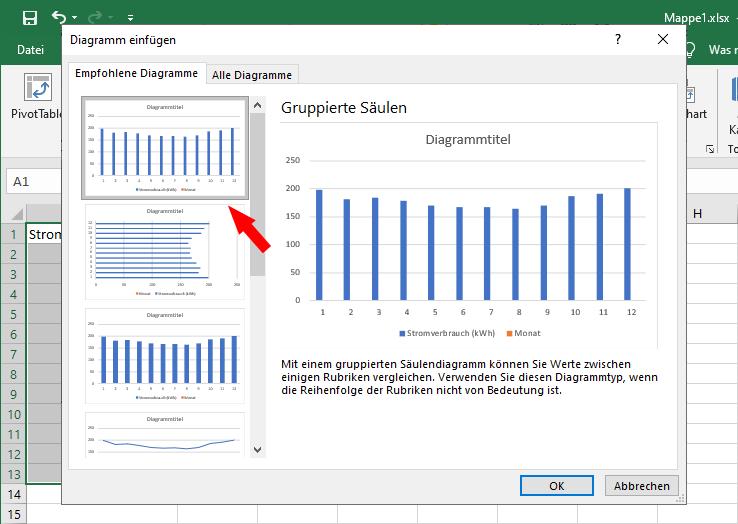 Diagramm aus Excel Tabelle: Diagrammtyp wählen
