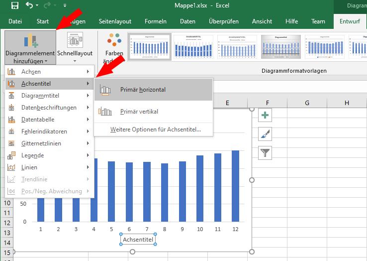 Diagramm aus Excel-tabelle erstellen: Achsentitel