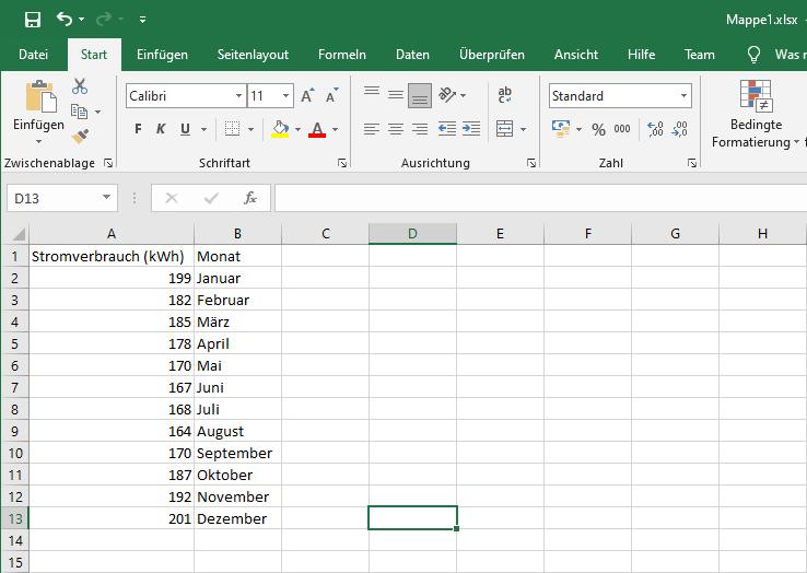 Diagramm aus Excel Tabelle erstellen - anlegen